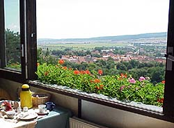 perfect view from the bed and breakfast into  Bad Frankenhausen